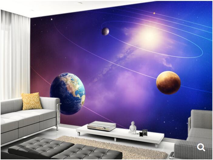 Custom papel DE parede infantil, Inner Solar System Planets,3D Cartoon for childrens room ceiling backdrop vinyl wallpaper<br><br>Aliexpress