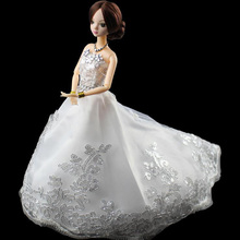 Hot Selling Beautiful Chinese Doll With Wedding Gown Princess Big Trailing Dress Light Bead Piece Gauze Dresses For Barbie Dolls(China)