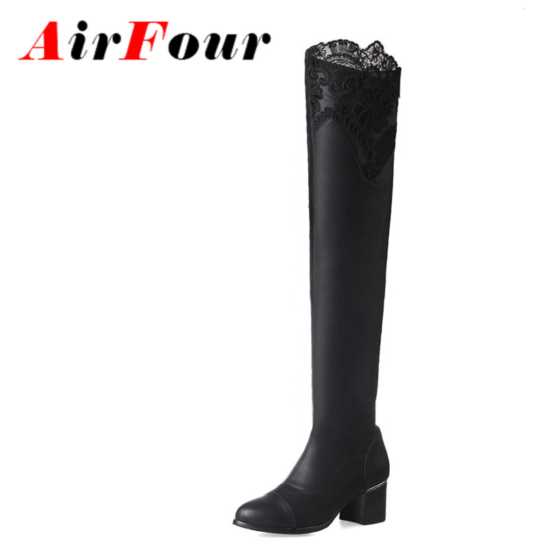 Airfour Two Style Autumn Stretch Fabric Slip-on Tight Thigh High Boots and Knee High Boots Women Chraming Lace Pointed Toe Shoes<br>