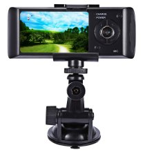 "Dual Camera Car DVR R300 with GPS and 3D G-Sensor 2.7"" TFT LCD X3000 Cam Video Camcorder Cycle Recording Digital Zoom hot sale"