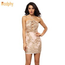 2017 women sexy beading open back hollow out rayon elastic mini club party hl bandage dress drop shipping HL785(China)