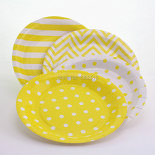 Free Shipping 120pcs Disposable Round Paper Plates Yellow Birthday Cake Dishes 9inch mix Patterns Party Tableware Supplies