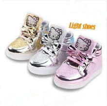 New children's casual shoes high diamond Hello Kitty shoes baby shoes sneakers girls shoes high quality LED lights glow