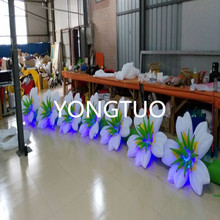 2pcs/Lot led gaint inflatable lighting flower chain for wedding decoration(7m)(China)
