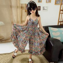 2016 New European style children's Dress girl floral summer cool wide leg pants jumpsuit Girls personality dress Factory outlets