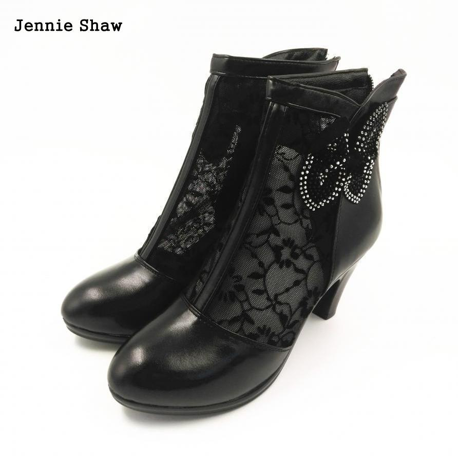 Genuine leather spring and autumn cutout Lace boots  womens high-heeled platform shoes<br>
