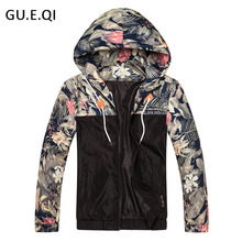 GUEQI Fashion Hooded Print Floral Bomber Jacket Front-Zip Men's Windbreakers Loose Casual Lightweight Breathable Bape Jacket J50