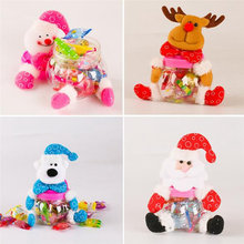 New Christmas Candy Bottle Jar Santa Claus Snowman Elk Bear Pattern Mini Storage Case Gift Box Holder Container Xmas Decoration