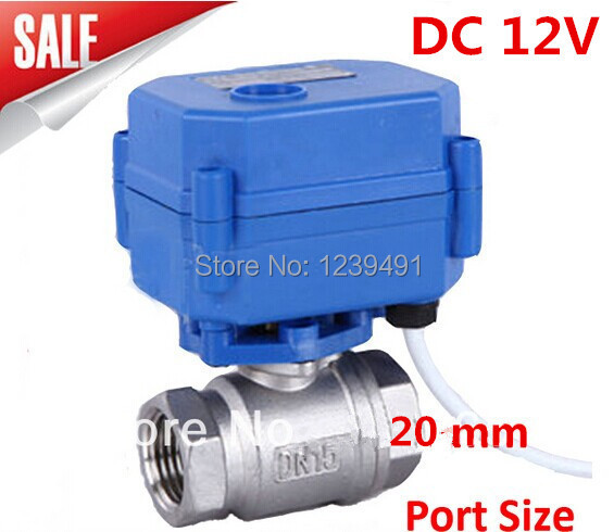 Motorized Ball Valve 3/4 DN20 DC12V  Stainless Steel 304 Electric Ball Valve ,CR-01/CR-02/CR-05 Wires<br><br>Aliexpress