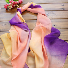 Korean version of the hot scarves gradient color chiffon two color fight scarves spring and summer scarves fashion sunscreen