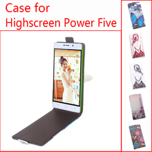 For Highscreen Power Five Phone Case Up-down Open Vertical Flip Premium Pattern PU Leather Case Cover Magnetic Closure