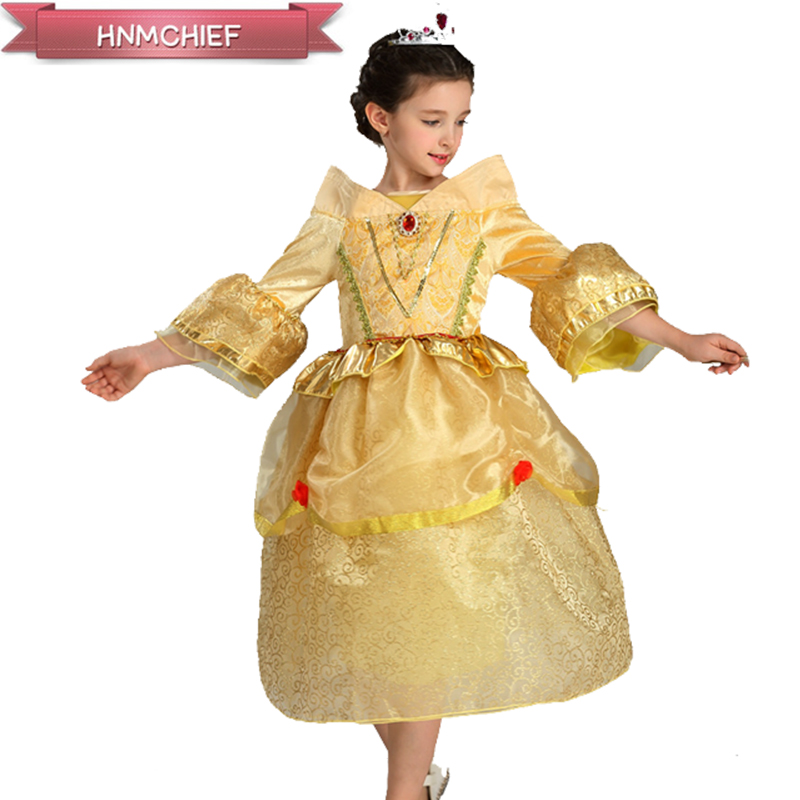 Girl Dress Sleeping Princess Costume Spring&amp;Autumn 2017 Yellow Princess Belle Dresses for Girls Party Costume For 3-8 old<br><br>Aliexpress