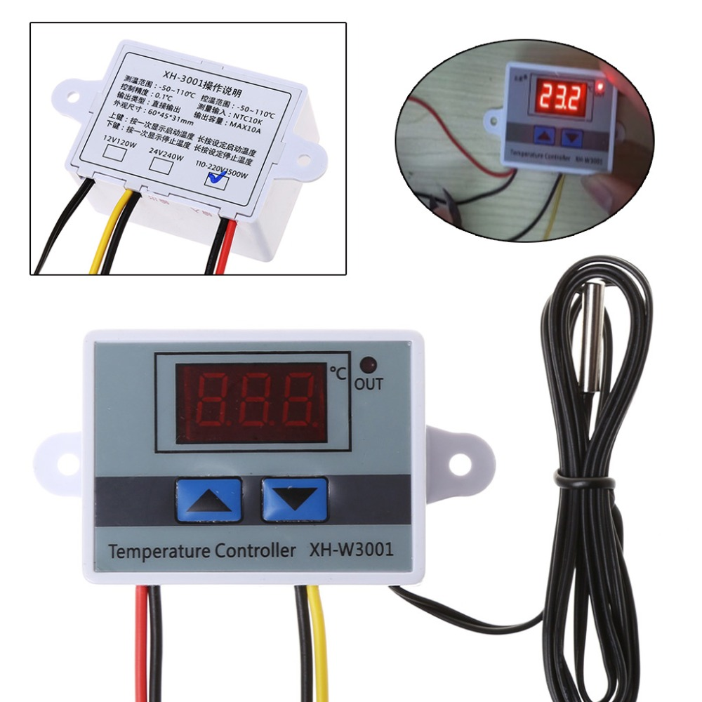 Digital LED Temperature Controller 12-220V 10A Thermostat Control Switch Probe N