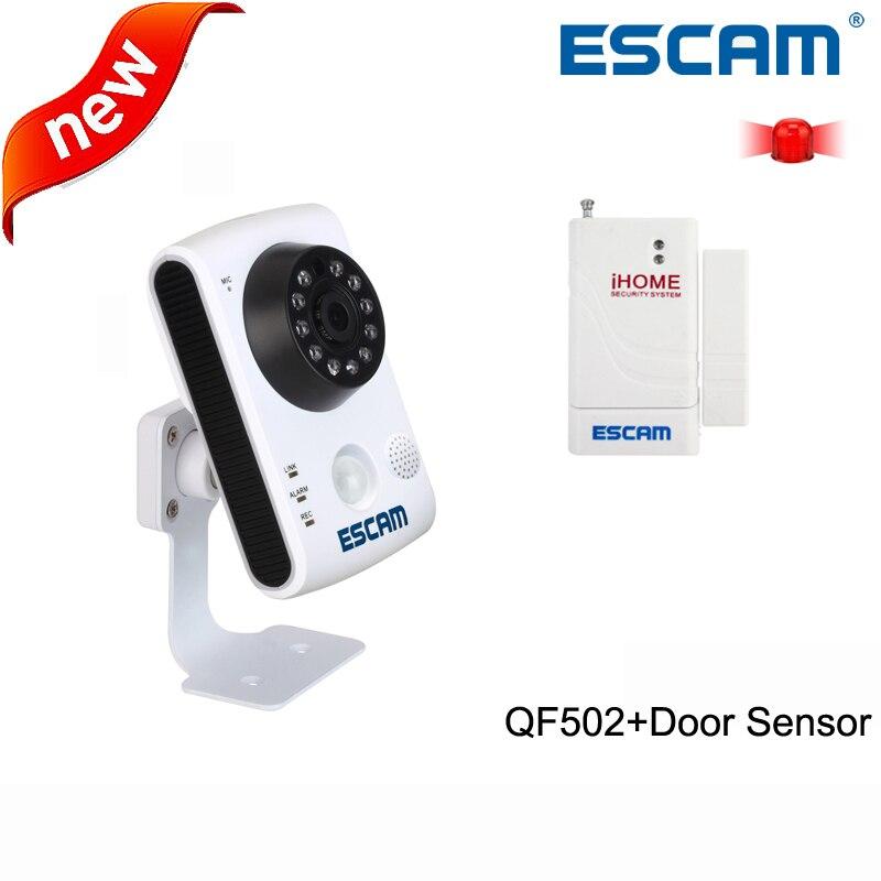Escam QF502 WIFI Wireless HD720P 1MP P2P Integrated Alarm Door PIR Sensor MAX 32G TF Slot Pan/Tilt IR-Cut IP Camera+door sensor<br><br>Aliexpress