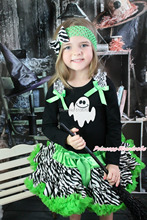 Halloween Black Pettitop White Ghost Girl Green Zebra Pettiskirt Outfit 1-8Year MAMG1225