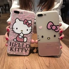 Fashion cute cartoon Hello Kitty clear soft tpu phone case for iPhone 7 7Plus 6 6s plus luxury glitter crystal lanyard Cover