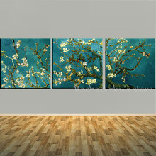 Handpainted 3 Panles Blossoming Almond Tree Oil Painting Vincent Van Gogh Reproduction On Canvas Wall Art Picture For Home Decor