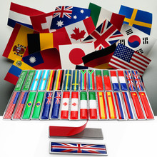 10pair Metal Australia Portugal UK USA France Russian Sweden Brazil Canada Arabia Argentina Italy Spain Germany Flags Car Emblem