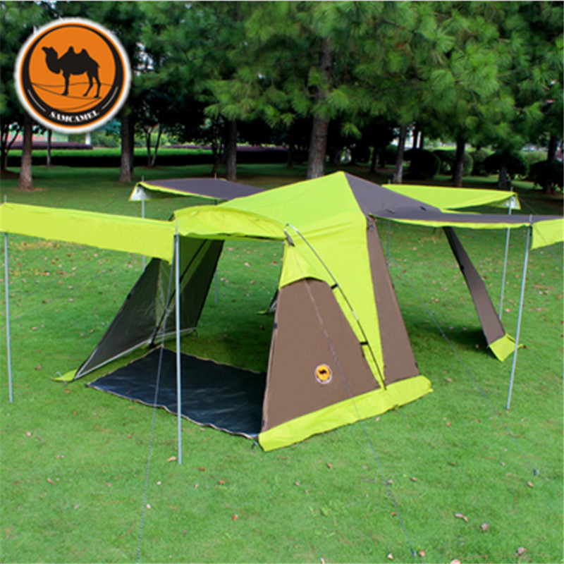 Camel-Outdoor-Tent-3-4-People-Double-Anti-rain-Waterproof-Camping-tent-with-Skirt-4-doors