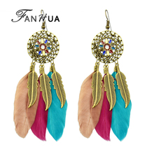 FANHUA Famous Brand Jewelry Boho Earrings Ethnic Antique Gold-Color Long Dangle Colorful Feather Earrings for Women Brincos