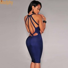 2017 women sexy halter strap cut out knee length celebrity bandage dress stretch sheath bodycon club party HL dress MD456