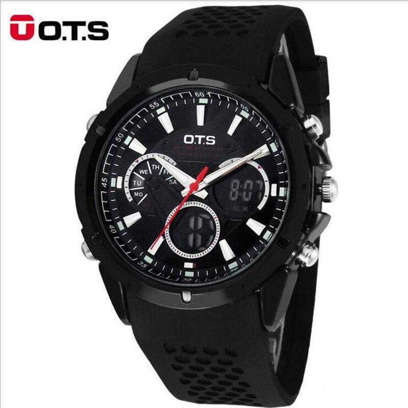 Top Brand Luxury OTS Sport Watch Auto Date Day LED Alarm Black Rubber Band Analog Quartz Military Men Digital Watches relogio<br><br>Aliexpress