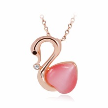 Gold Color charm fashion high quality Red Zirconia crystal Mysterious swan Pendant necklace For women jewelry(China)