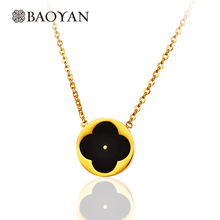 Baoyan 316L Stainless Steel Gold Color Round Small Tiny Elegant Chic Black Enamel Four Leaf Clover Pendant Necklace for Women(China)