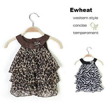 SHOWHASH retail girl dress new arrival baby girls fashion leopard zebra cake dresses girls leopard knee-length dresses with bow