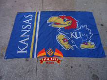 University of Kansas flag ,sales exhibition Brand,100% Polyester 90x150cm Activity show banner,flag king,Digital printing(China)
