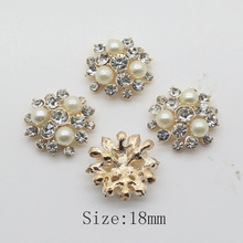 10Pcs 18mm Metal buttons Pearl button For clothing Accessories weding handmade decorative buttons(China)