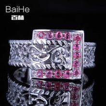 BAIHE Solid 14K White Gold(AU585)0.36CT Certified H/SI 100% Genuine Rubies Wedding Women Trendy Fine Jewelry Ring(China)