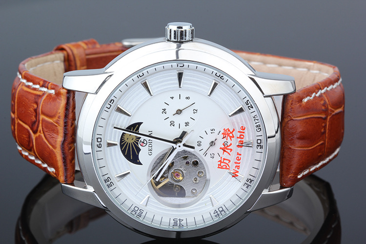 Top Brand Luxury Automatic Mechanical Watch Classic men Leather Male Clock Fashion men clock Mens Watches <br>