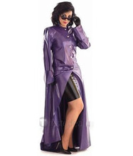 0.44mm Floor-length Purple Women's Latex Dust Coat(China)