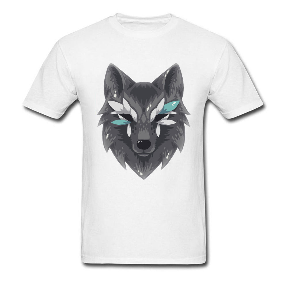 The Wolf Men Graphic Normal Tops & Tees Round Collar Summer Fall 100% Cotton Top T-shirts Design Short Sleeve T Shirts The Wolf white