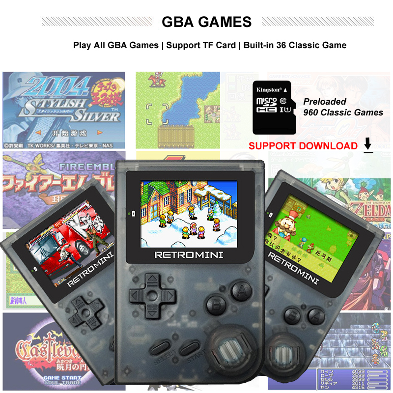 Retro Mini 32 Bit Handheld Game Player for GBA Classic Games Built-in 960 Games Lithium Battery Video Console Best Gif for kids