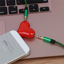 Mini Cute 1 to 2 Heart-shaped 3.5 Jack Aux Audio Cable Earphone Music Share Splitter for Apple iPhone 6 6s iPad iPod MP3 speaker(China)