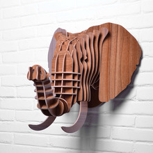 High-end Wooden Elephant Head 5mm Wall Hanging Animal Sculptures Wooden Sculpture W-WD012(China)