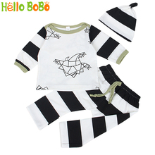 Hello BoBo Baby Boys Baby Girls Clothing Set Hat+Paper Crane Printing Sleeved Tees+Full Length Pants Bebe Clothes Best Present