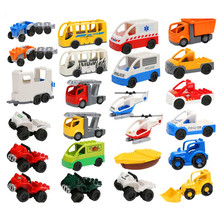 City Traffic Blocks Toys Ambulance Police Car Boat Raft Helicopter Truck Motorbike Bus Zoo Jeep Baby Toys