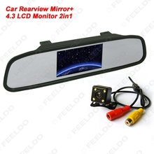 "4.3"" LCD Digital Car Rearview Monitor With Mirror + CCD 4-led Reversing Camera Car Rear View System #FD-3740"