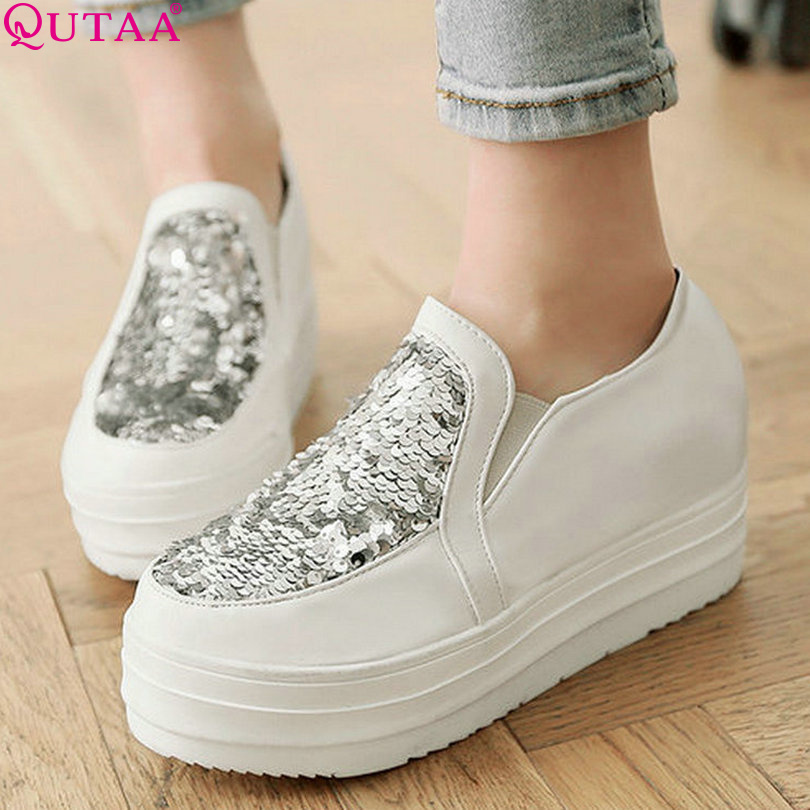 QUTAA Red Ladies Spring Shoes Woman Shoes Wedge High Heel Woman Pump PU leather Women Casual Shoes Size 34-43<br><br>Aliexpress