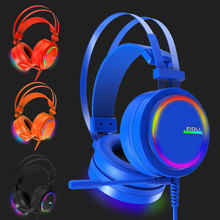E T Metal 7.1 Virtual Surround Sound Stereo Over-ear PC USB Gaming headband Headset with Mic Vibration Volume Control LED Light
