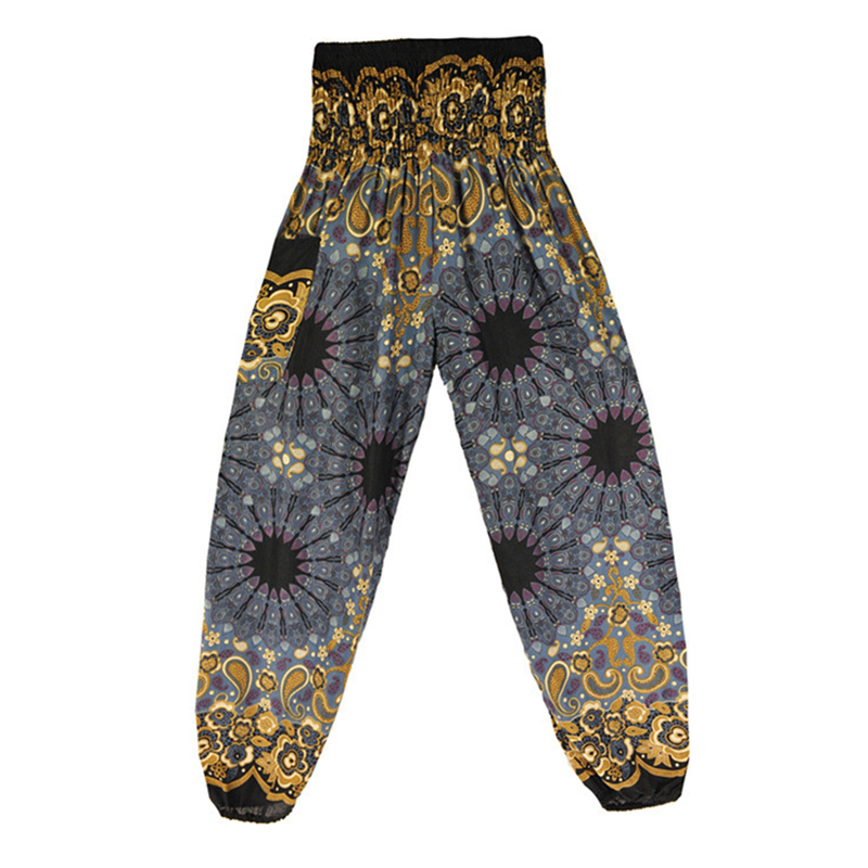2018 Women Boho Baggy Hippie Long Pants Female Harem Loose Printed Soft Elastic High Waist Bottom Indie Folk Trousers Gypsy New