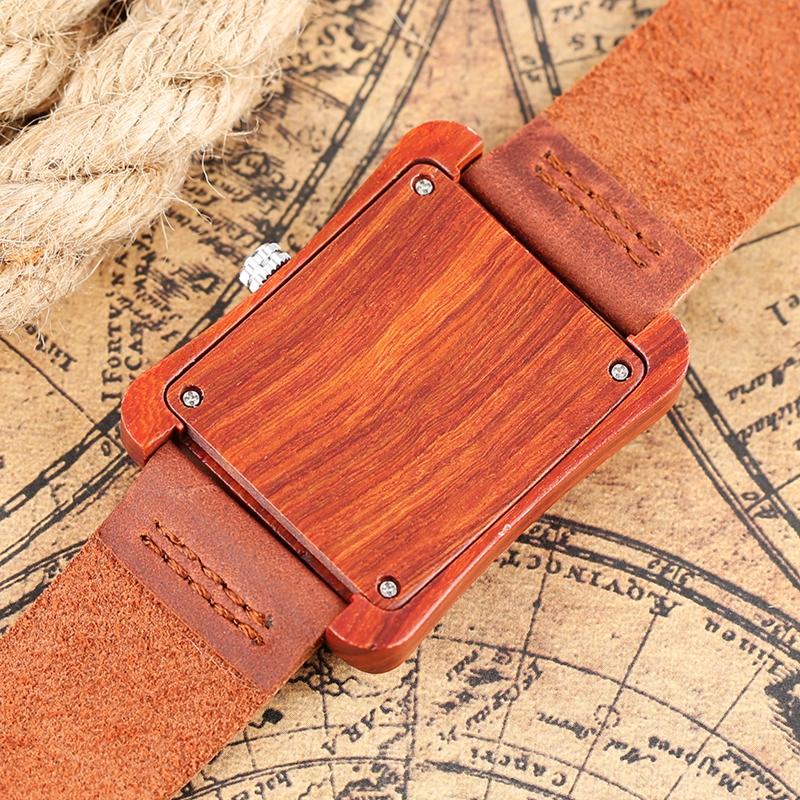 Creative Rectangle Dial Wood Watch Natural Handmade Light Bamboo Fashion Men Women Casual Quartz Wristwatch Genuine Leather Gift 9