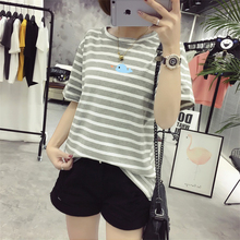 Fashion Summer T shirt Women Striped Dolphin T Shirts Short Sleeve Cartoon Tee Dolphin Printed Cotton Tops 5 Colors