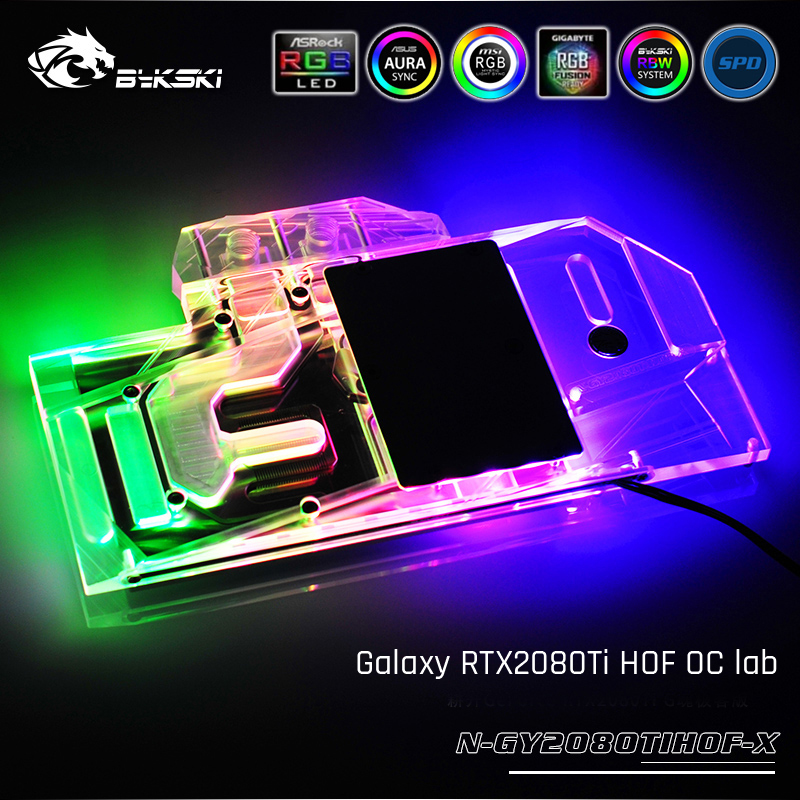 Bykski N-GY2080TIHOF-X, Full Cover Graphics Card Water Cooling Block, For Galaxy RTX2080Ti HOF OC lab