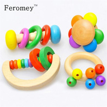4PCS/set Wooden Bell Rattle Toy Baby Handbell Musical Educational Instrument Rattles For Toddlers Babies juguetes bebes(China)