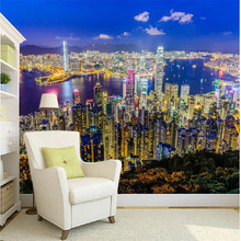 wall paper 3d mural decor photo backdrop Photographic lager mural Hong Kong night hotel restaurant wall painting murals