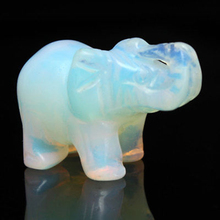 1.5 Inch Hand Carved Elephant Opal Gemstone Lucky Statue Home Office Desk Decoration Gift Event Party Supplies MAYITR(China)
